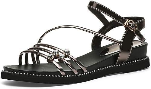 Tastak Sandales Version coréenne féminine de de de la Nouvelle Bouche Peu Profonde à Bout Ouvert Chaussures for Femmes Chaussures d'été Plates Décontracté Grande Taille Chaussures for Femmes 019