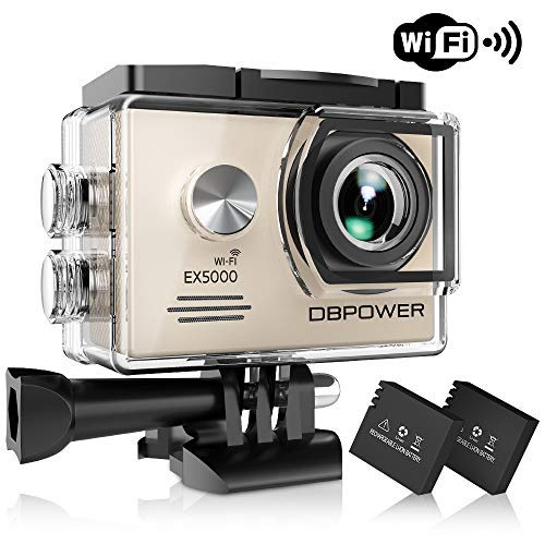 DBPOWER EX5000 Action Camera , 14MP 1080P HD WiFi Waterproof Sports Cam 2 Inch LCD Screen , 170 Degree Wide Angle Lens , 98ft Underwater DV Camcorder With 16 Accessories Kits