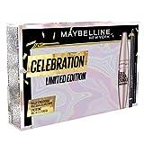 maybelline new york pochette idea regalo donna natale 2021, include mascara ciglia sensazionali very black, matita occhi line refine