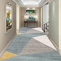 KAXO カーペットランナー廊下の滑り止めのための敷物ホール狭いキッチンラグス.エントリー階段のためのエクストラロングカーペットランナーホール廊下の床のマット - グレー/ブルー/イエロー(サイズ:80×600Cm / 2.6Ft×19.7Ft)/100×200Cm/3.3Ft×6.6Ft