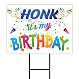 Honk Its My Birthday Yard Sign 24' x 18' - Coroplast Visible Text Long Lasting Rust Free Happy Birthday Honk Yard Sign with Metal H-Stake, A (24x18, Double Sided)