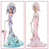 2 Pack DIY 5D Diamond Painting Kits, Special Shaped Rhinestones, Partial Drill Lady with Hat Crystal Diamond Art Crafts Kits (Large, 12x24 inch, Lavender Pattern Dress Lady+Pink Dress Lady)