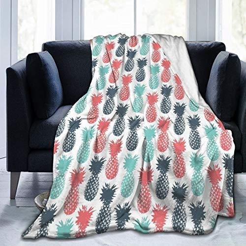 JISMUCI Manta de Franela Suave,Piña,Islandia Piña Patrón de Frutas Tropicales Estampado como telón de Fondo mínimo Arte Pop,Cama de Camping para sofá 127x102cm