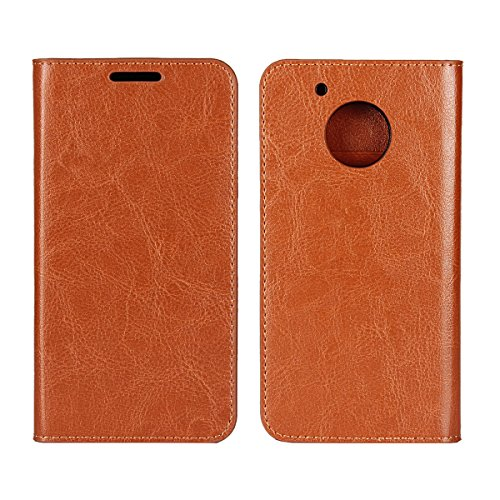 Moto G5 Plus Case, Jaorty Genuine Leather Folio Flip Wallet Case Cover Book Design with Kickstand Feature with Card Slots Cash Compartment for Motorola Moto G5 Plus (5.2 )-Light Brown