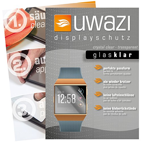 uwazi I 5X Glas-klare Schutzfolie für Fitbit Ionic Displayschutzfolie I Folie I Anti Fingerabdruck I Anti Kratzer