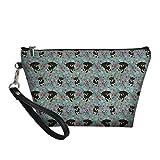 HUGS IDEA Bolsa de cosméticos con mango estampado floral Boston Terrier para mujer, Pinscher en miniatura. (Multicolor) - Z8