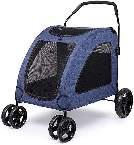 Con la silla de paseo perro superior mascotas ventana cochecito durante 15-55Kg,Blue