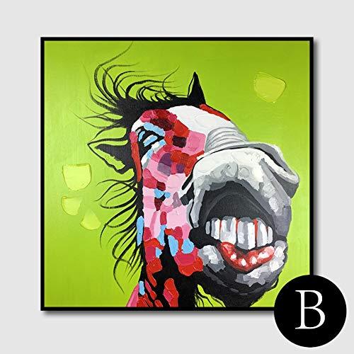 WunM Studio olieverfschilderij op canvas met de hand geschilderd, abstract schilderij, dier lelijke paard op groen, grote moderne kunst wanddecoratie voor woonkamer, woningen, entree slaapkamer of kantoor 110 x 110 cm