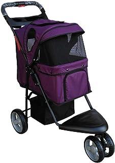 4 Wheels sällskapsdjur vagn, Cat Dog Cage Barnvagn, Travel Folding Carrier, cykelkärra Barnvagn Jogger W/Suspension, One K...
