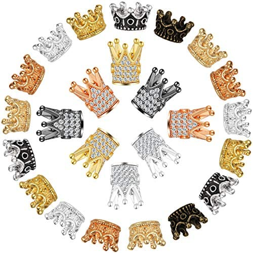 80 Pieces King Crown Charm Spacer Beads King Crown Beads Mixed Color Brass Micro Pave Clear product image
