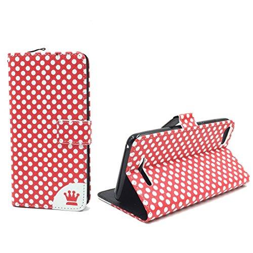 König Design Handyhülle Kompatibel mit Wiko Lenny 2 Handytasche Schutzhülle Tasche Flip Hülle mit Kreditkartenfächern - Polka Dot Rot Weiß