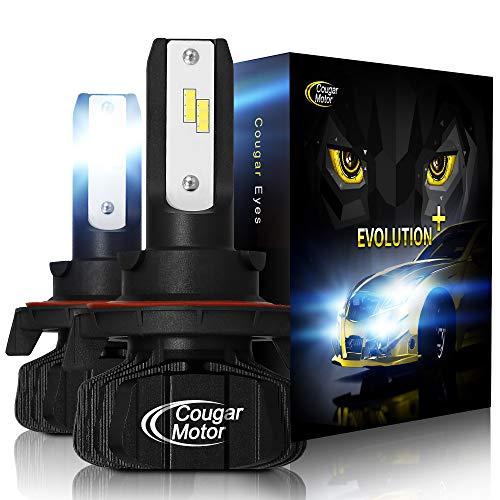 Cougar - Bombillas LED para faros delanteros, 9600 lm, 6500 K, sin ventilador, kit de conversión todo en uno, tecnología 3D biónica