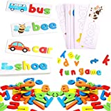whc0815 See Spelling Learning Toy Sight Word Matching Letters Puzzle English Alphabet Kids Spelling Game Toy(28 Double-Side Cards & 52 Alphabet Block)