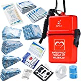 DEFTGET Waterproof First Aid Kit with Mini , Durable, Lightweight Construction, Bandages for Minor Injuries While Camping, Hiking and Outdoor Survival IFAK(Dark-red)