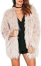 Simplee Apparel Women's Long Sleeve Fluffy Faux Fur Warm Coat,Beige,Size : Asian XXXL,US 12