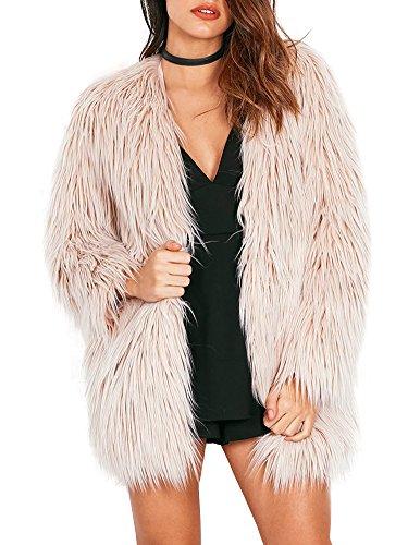 Simplee Apparel Women's Long Sleeve Fluffy Faux Fur Warm Coat,Beige,Size : Asian M,US 4