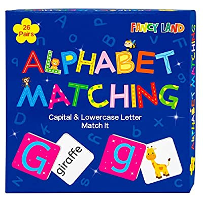 Kids Memory Game Alphabet Matching Game Capital and Lowercase Letter with 26 Pairs