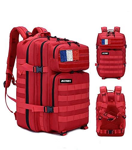 ELITEX Mochila 45L Táctica Militar Bandera Francia Impermeable para Crossfit Caza Aire Libre Deportes Gimnasio Portatil Oxford 900D (Rojo)