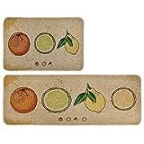 Dake 2 Piezas Alfombras Cocina de Lino Antideslizante Felpudo Fácil Limpieza Moderna Alfombra Absorción de Agua y Aceite para Baño Comedor Dormitorio #3 45x70 CM and 45x120 CM