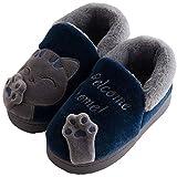 Zapatillas de Estar por casa Gato para niña niño Pantuflas Invierno Interior Suave Casa Caliente Zapatos Antideslizantes Peluche de Animales Slippers Mujer Hombre