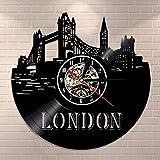 CCGGG Reloj de Pared artístico para Colgar en la Pared del Horizonte de Londres Reloj de Pared con Disco de Vinilo de Paisaje de la Ciudad de Londres Reloj de Regalo de Viaje de Paisaje Big Ben