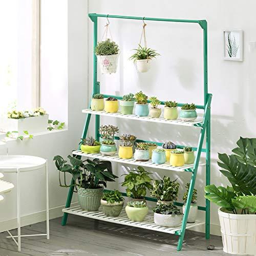 Support à fleurs Bamboo Landing Multi-layer Avec tige de suspension Support pour plantes grasses d'intérieur Support pour pots de balcon Etagère de salon (Couleur : D, taille : 70 * 40 * 96cm)