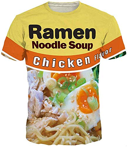Keasmto Ramen Chicken Noodle Shirt for Men Women Casual T Shirts Chicken-Shirt Tag 4XL