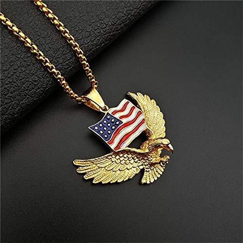 American Flag Eagle Halskette Statement Gold Farbe Edelstahl Hawk Animal Charm Anhänger & Chain Men Goldcolor