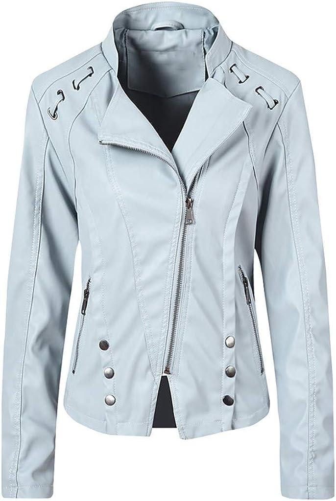 Zainafacai Women's Faux Leather Zipper Long Sleeve Short Jacket