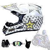AMINSHAP Full Face Off Road Casco De Motocross Quad Crash Helmet ECE Downhill Dirt Bike MX All-Around Helmet Hombres Y Mujeres Adultos (Guantes, Gafas, Máscaras, Juego De 4),White,M57~58cm