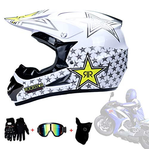 AMINSHAP MX All-Around Helm Pentagram Volledige Gezicht Off Road Motocross Helm Quad Crash Helm ECE Downhill Dirt Bike Volwassen Mannen En Vrouwen (Gloves, Goggles, Maskers, Set van 4)