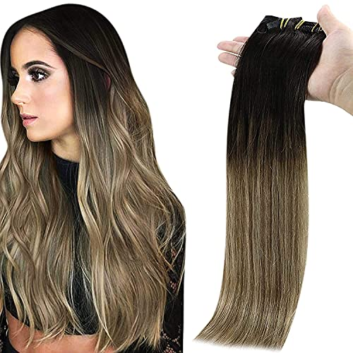 Full Shine Seamless Clip in Hair Extensions 14 Inch Human Hair Clip in Extensions Ombre Balayage Color 2 Dark Brown to 8 Highlight 22 Blonde Clip in Extensions PU Weft 100 Gram 8 Pcs
