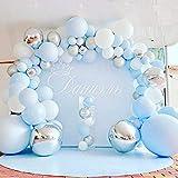 Juego de 112 globos azules de látex 4D de color azul, plata y blanco, globos plateados para baby shower, bodas, fiestas...