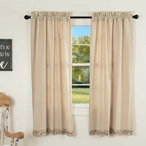 Piper Classics Twig & Berry Vine Panel Curtains, 63' L, Beige w/ Embroidered Berries, Farmhouse Country Primitive Drapes