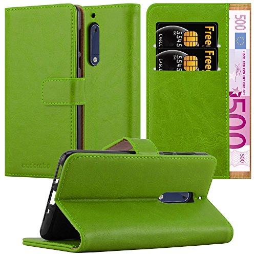 Cadorabo Hülle für Nokia 5 2017 in Gras GRÜN – Handyhülle mit Magnetverschluss, Standfunktion & Kartenfach – Hülle Cover Schutzhülle Etui Tasche Book Klapp Style