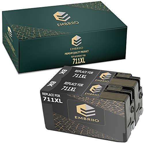 EMBRIIO 711XL 711 XL | 2 Negro Cartuchos de Tinta Reemplazo para HP DesignJet T120 T520