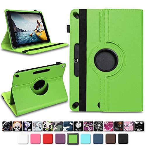 NAmobile Tablet Schutzhülle für Medion Lifetab X10311 X10302 P10400 aus Kunst-Leder Hülle Universal Tasche Standfunktion 360 Drehbar, Farben:Grün