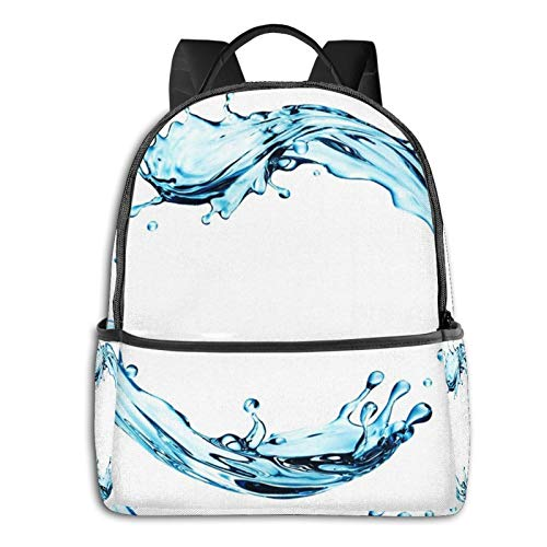 PEIGJH Mochilas Escolares Bolsa Daypack Mochila Tipo Casual para Niños Niñas para Portátiles Netbooks Renderizar Onda Azul Digital