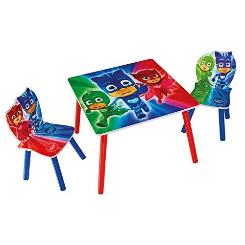 PJ Masks Ensemble de Table avec 2 Chaises pour Enfants, Bois, Multicoloured, 63 x 63 x 45 cm