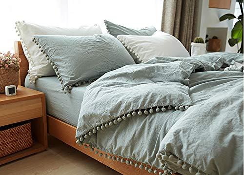 TanNicoor Bettwäsche-Set mit Fransen, 2-teilig, natürlich, ultraweich, Farbe gewaschene Baumwolle, moderner Stil, Daunendecke mit Reißverschluss (Doppelbett, Grün)