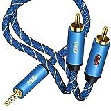 Cable RCA,RCA to 3.5mm Jack de Nailon Trenzado Cable Jack 3,5 mm a 2 RCA Macho a Macho para iPhone,iPod,Smart TV,Home Theater,Tablet o Reproductor de MP3 Azul 6Ft/2M
