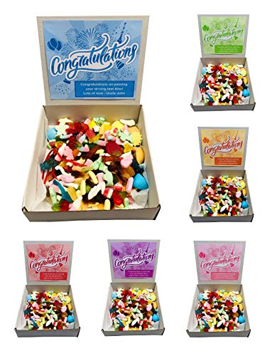 Congratulations Pick N Mix Retro Sweets Box Sweet Candy Gift Hamper - 1kg - Personalised Gift Message - Perfect for Engagement, Driving Test, Graduation, New Job, New Home (Blue)
