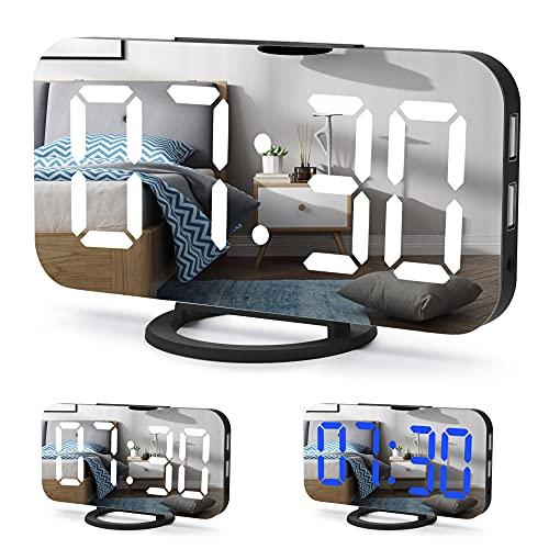 Cliusnra Reloj despertador digital pequeño con espejo, pantalla LED, para dormitorio, eléctrico,...