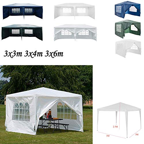 AutoBaBa 3x3m Gazebo Outdoor Party Commercial Tent Marquee Canopy Awning for Party Wedding Camping With Zip Up Side Panel, Waterproof (White)