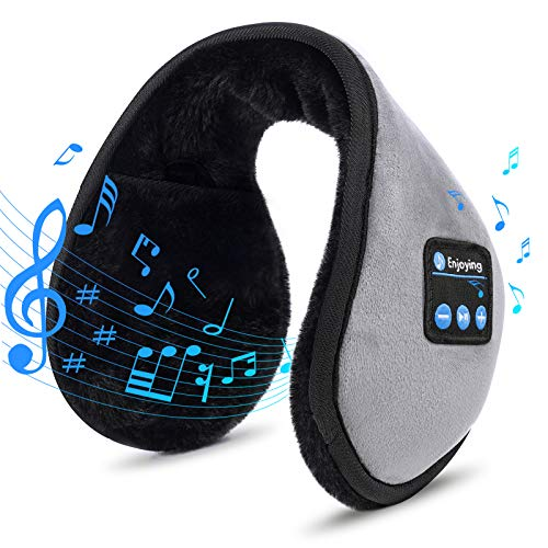 Bluetooth Ear Muffs - Bluetooth 5.0 Headphones Earmuffs Running Ear Warmers Earmuffs for Women Winter Music Earmuffs Outdoor Christmas Stocking Stuffers Gifts for Women Men Dad Mom Teens (Grey)