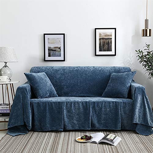 Icegrey bankovertrek, antislip, armleuningen, sofa-sprei, van fluweel, sofahoes 200x300cm blauw