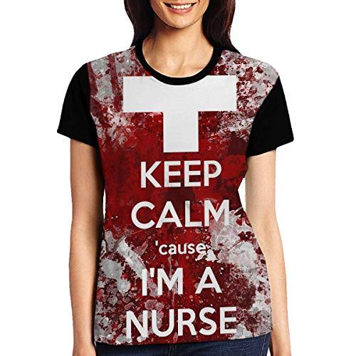 Women's Raglan Top tee Keep Calm Nurse Summer Casual T-Shirt