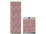 Oedim Pack Vinilo para Frigorífico + Vinilo para Lavavajillas Zigzag Rojo | 70x200cm + 70x80cm | Adhesivo Resistente y Económico | Pegatina Adhesiva Decorativa de Diseño Elegante