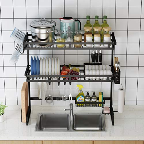 Skywin Over the Sink Dish Drying Rack - 3 Tier Dish Drying Rack for Kitchen Counter Organizes and Stores Kitchen Ware - Stainless Steel Dish Rack for Double Sink