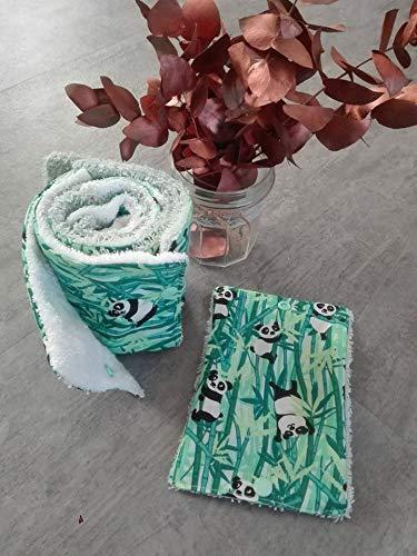 papier toilette lavable, en coton et éponge, zéro déchet, motif panda, idée cadeau, fait main, zéro waste